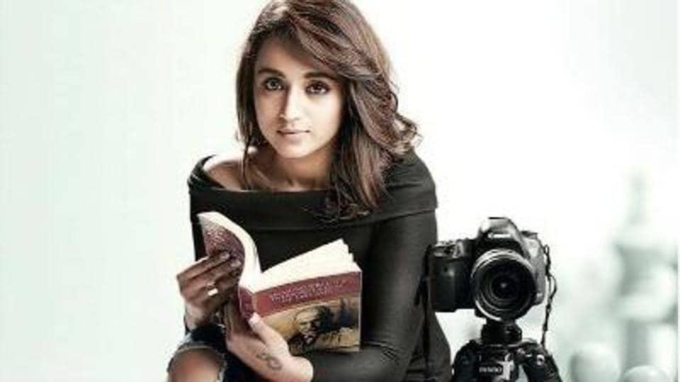 Trisha Krishnan in a poster from Sathuranga Vettai 2.