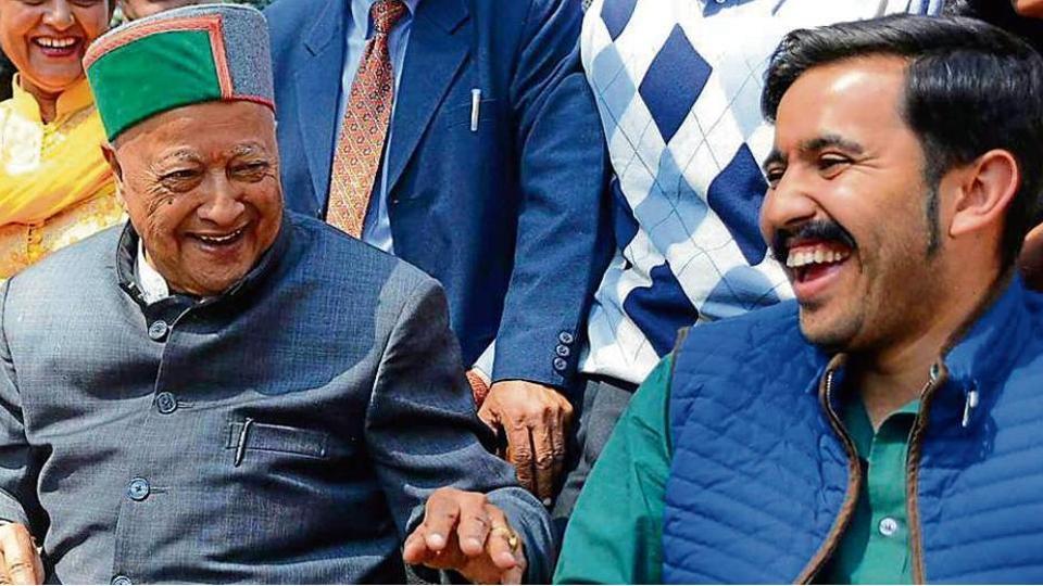 Himchal chief minister Virbhadra Singh and son Vikramaditya.