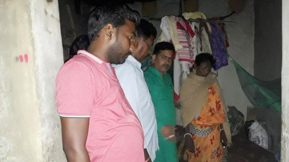 People visit the house of Rooplal Marandi who died in Bhagwanpur village in Deoghar district of Jharkhand. (HT Photo)