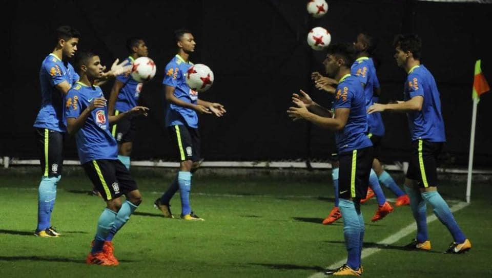 Brazil footballers practice ahead of their FIFAU-17 World Cup match against England in Kolkata. (SAMIRJANA/HTPhoto)