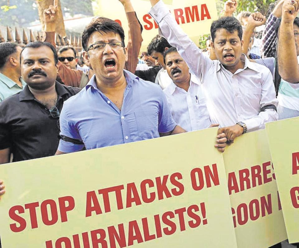 In this file photo, journalists are seen staging protest at Patiala House Court in New Delhi. The home ministry has asked all states to ensure safety and security of journalists in exercising freedom of speech and expression, in the wake of incidents of attacks on mediapersons.