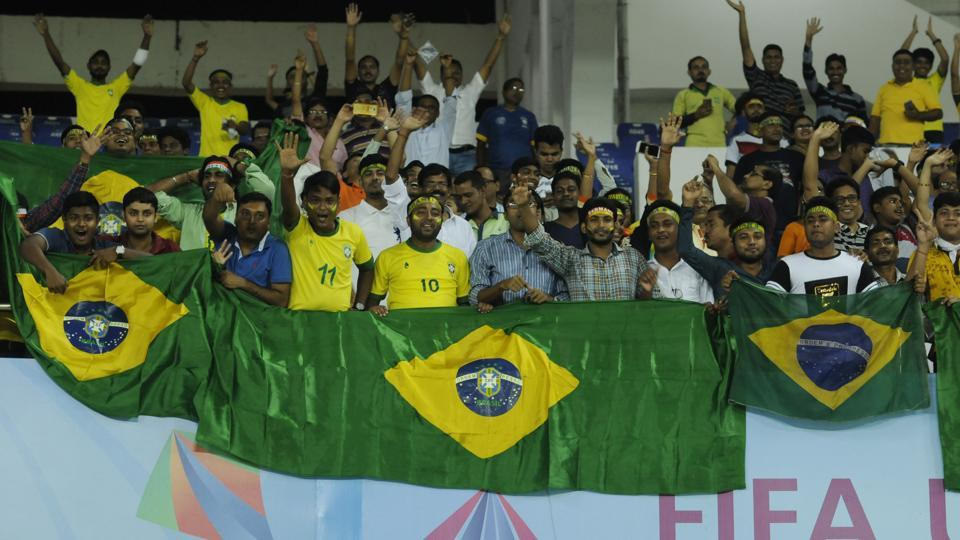 Brazil, who have won the FIFA U-17 World Cup thrice, will be aiming for their fourth title and they will be aiming to do it in front of the large Indian crowds at the Salt Lake stadium in Kolkata. (Samir Jana/HT PHOTO)