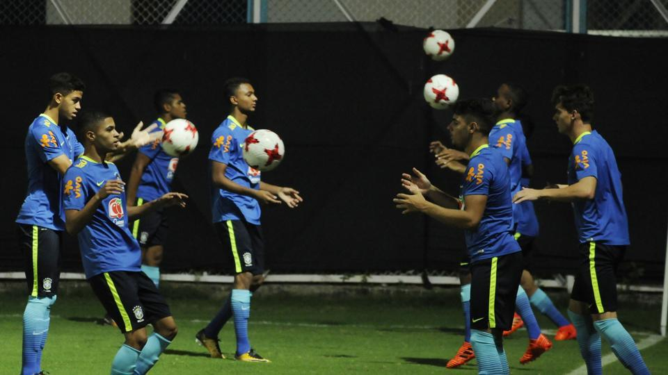 Brazil U-17 football team players during a training session on Tuesday, a day before their FIFA U-17 World Cup semifinal match against England at Salt Lake Stadium practice ground in Kolkata.