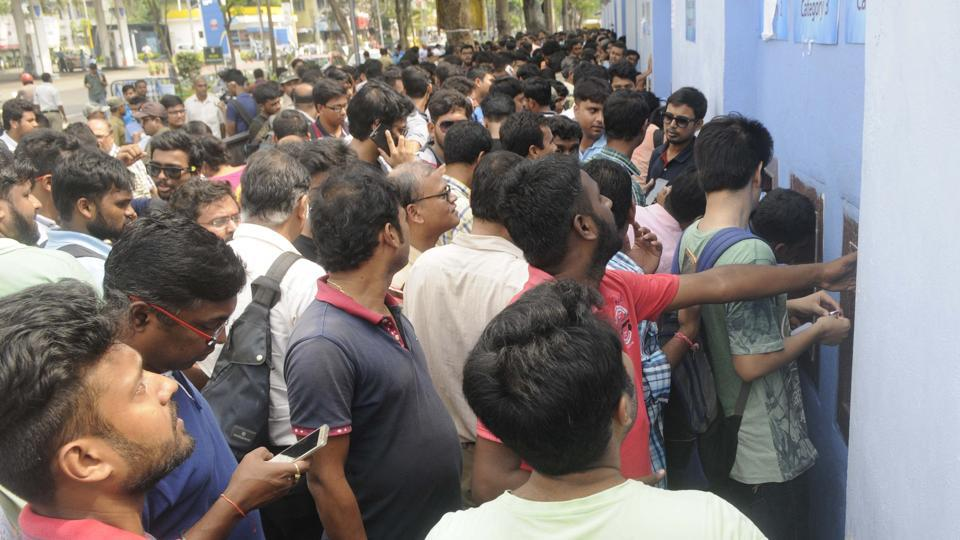 Football fans in Kolkata lapped up the frenzy as they stand in queues to collect their 'gift'. which is tickets for the FIFAU-17 World Cup semi-final between Brazil and England that was shifted from Guwahati.