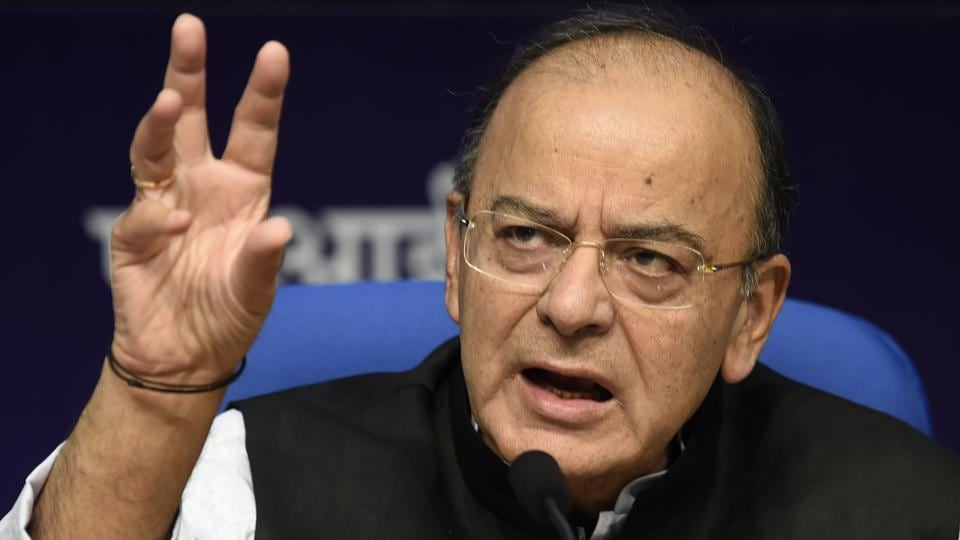 Finance minister Arun Jaitley during a press conference in New Delhi on Tuesday.