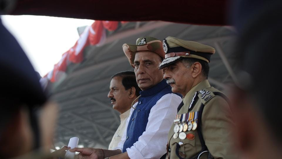 (From left) Union culture minister Mahesh Sharma, Union home minister Rajnath Singh and ITBP director general RK Pachnanda at the 56th Raising Day of the ITBP in Greater Noida on Tuesday.