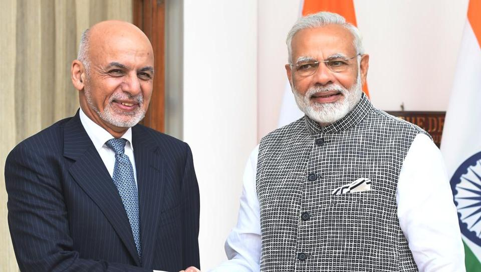 Prime Minister Narendra Modi with Afghanistan President Ashraf Ghani at Hyderabad House in New Delhi on Tuesday.