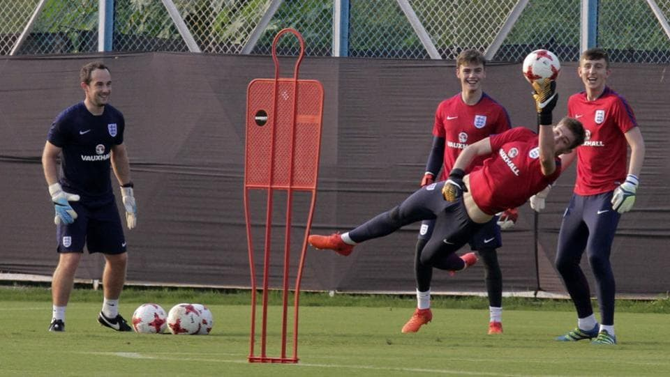 England goalkeeper Curtis Anderson practice hard ahead of the encounter. (AP)