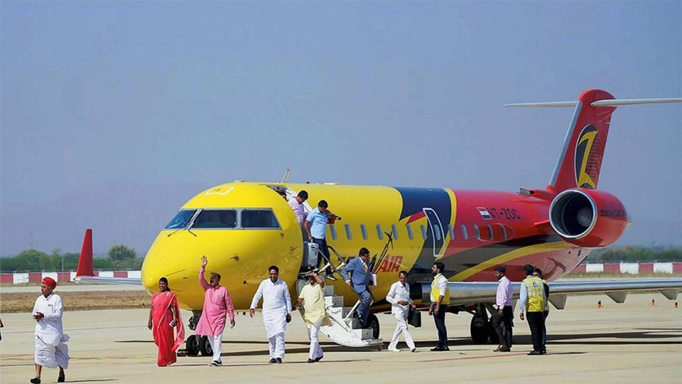 Rajasthan MLAs alighting a plane at Kishangarh airport near Ajmer on Tuesday. The MLAs travelled from Delhi to Kishangarh to prove its functionality for the local people.