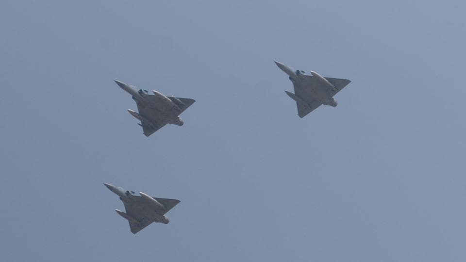 A formation of three IAF Mirage 2000 single-engine, multirole fighter jets seen mid-air during the touchdown drill. The Indian Air Force wants new public roads to be designed to serve as runways for its warplanes, providing an alternative for launching operations if key airfields are bombed out by the enemy.  (Subhankar Chakraborty/HT PHOTO)