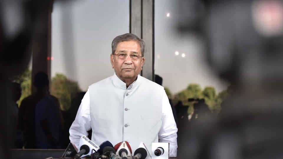 BJP MLA Ghanshyam Tiwari speaks to media persons outside state assembly in Jaipur on Tuesday.