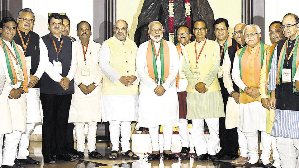 Prime Minister Narendra Modi, BJP chief Amit Shah, during a meeting of BJP chief ministers and deputy chief ministers at the Maharashtra Sadan in New Delhi.