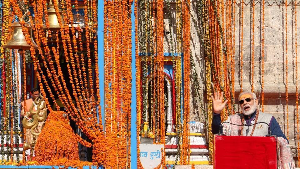 Prime Minister Narendra Modi at Kedarnath shrine on October 20.