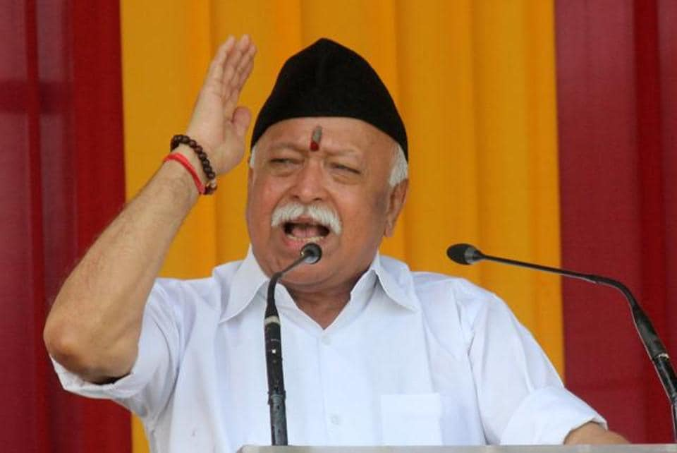 RSS Chief Mohan Bhagwat at RSS headquarters in Nagpur, Maharashtra.