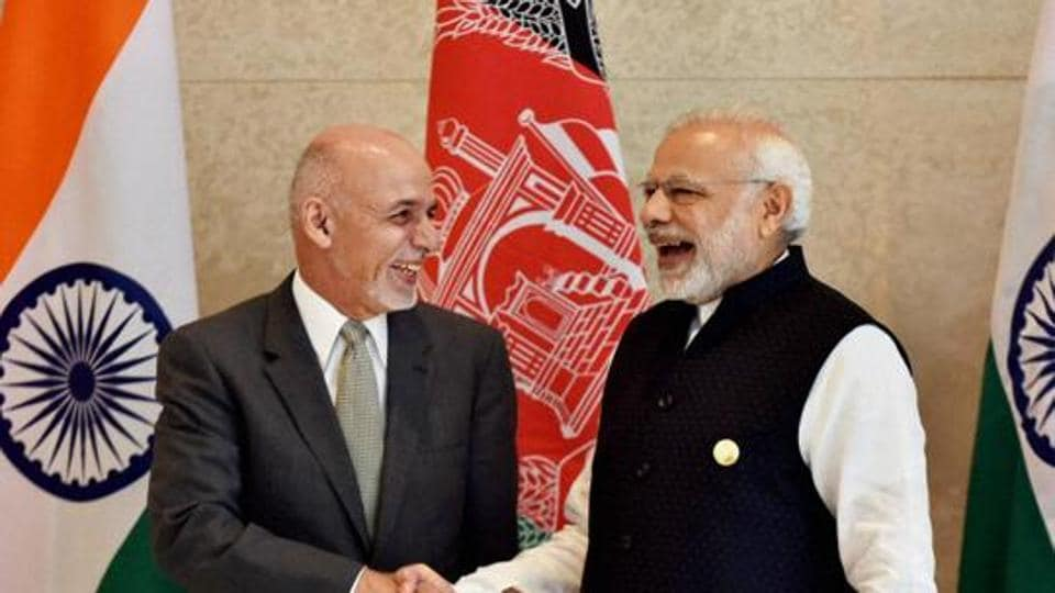 Prime Minister Narendra Modi and Afghan President Ashraf Ghani at the sixth Heart of Asia Conference in Amritsar.