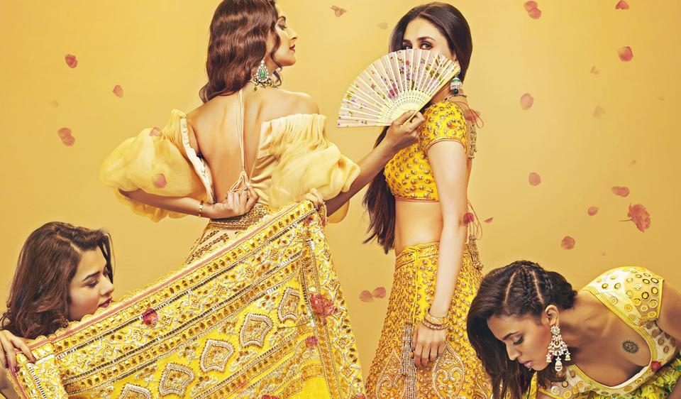 Sonam Kapoor, Kareena Kapoor, Swara Bhaskar and Shikha Talsania on the first poster of Veere Di Wedding.