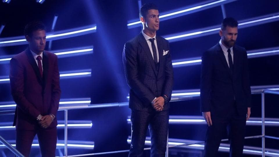Neymar, Cristiano Ronaldo and Lionel Messi at the FIFA Football Award ceremony in London.