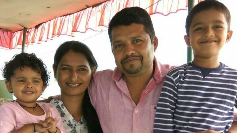 Nair with his family.
