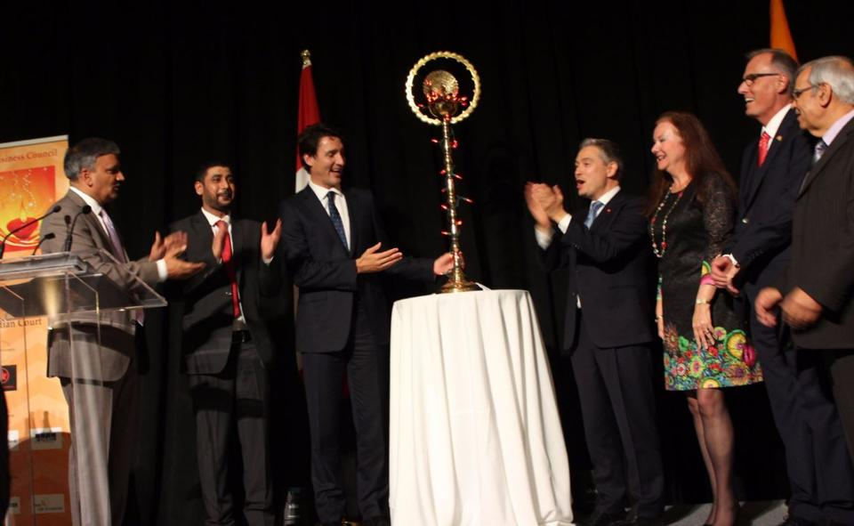 Canadian Prime Minister Justin Trudeau celebrates Diwali with the Canada India Business Council last week.