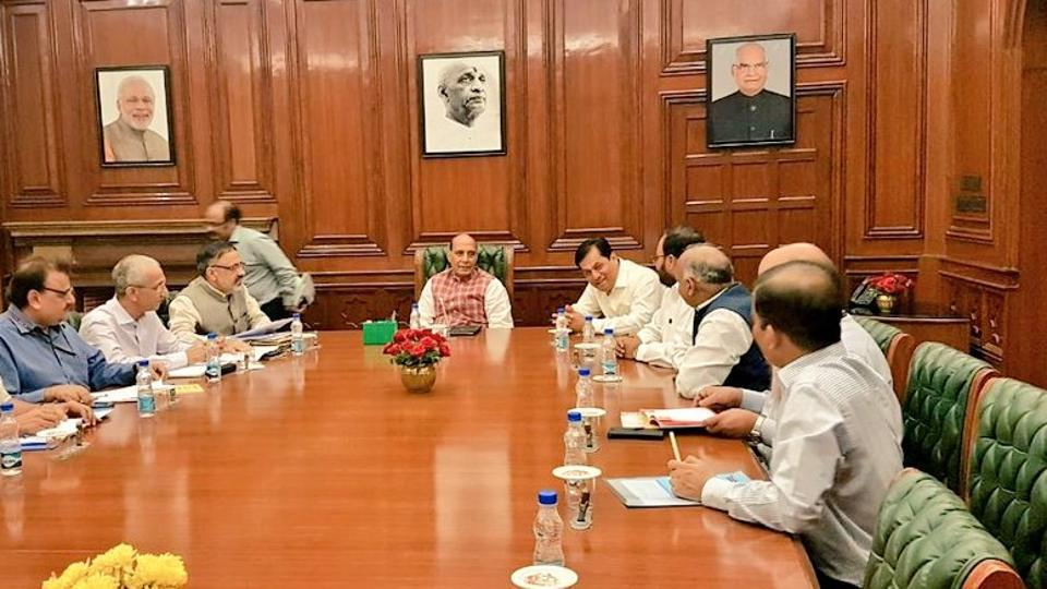 Assam chief minister Sarbananda Sonowal meets Union home minister Rajnath Singh in New Delhi on Wednesday. (Photo: Sarbananda Sonowal's Twitter account)