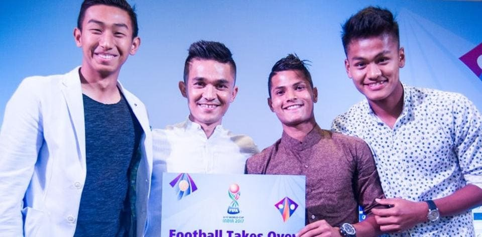 India  FIFA U-17 World Cup football team goalkeeper Dheeraj Singh (left), defender Sanjeev Stalin (2nd right) and Jeakson Singh (right), with Indian senior football team skipper Sunil Chhetri. Dheeraj, Stalin and Jeakson have become household names in India following their inspired performance at the World Cup.