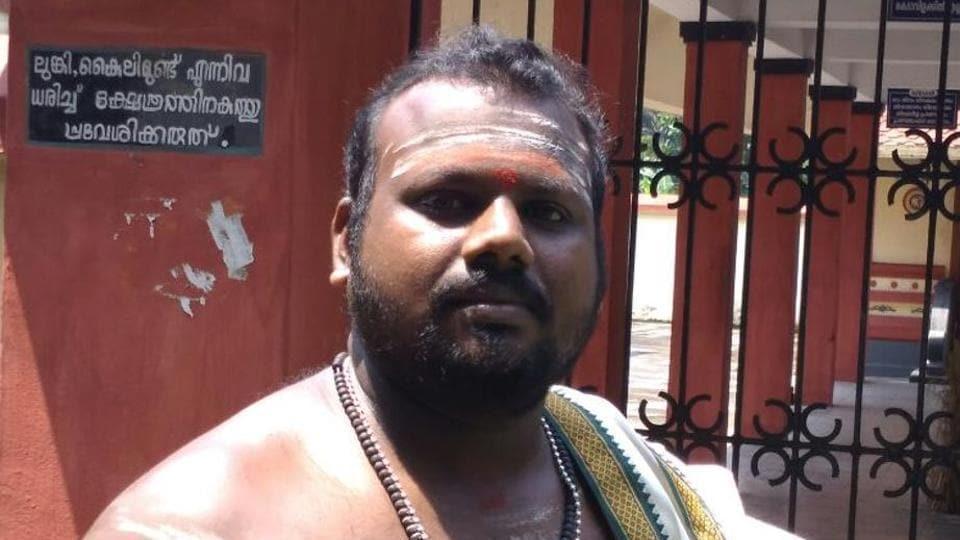 Dalit priest P C Manoj at the Mahadeva Temple in Arakkapady in Ernakulam district of Kerala.