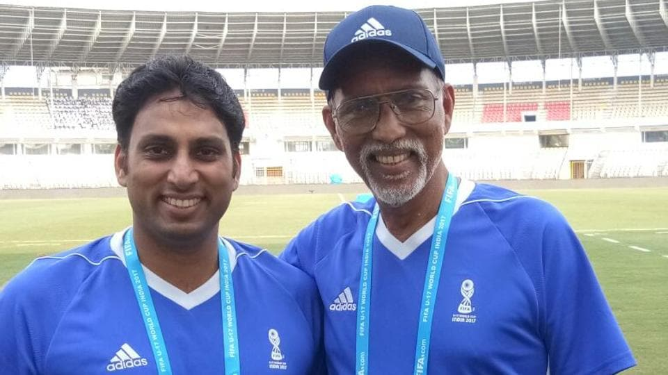 Based in Goa, Valmiki (L) and Lucas Cardoso were the only father-son duo among the volunteers for the FIFAU-17 World Cup