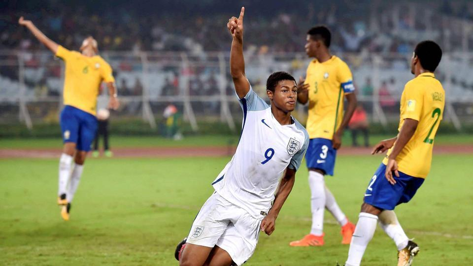 England's Rhian Brewster celebrates after scoring a goal against Brazil. (PTI)