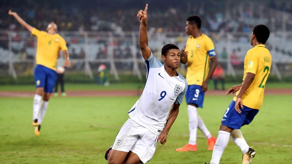 Rhian Brewster celebrates after scoring a goal against Brazil during their FIFA U-17 World Cup 2017 semifinal match in Kolkata.