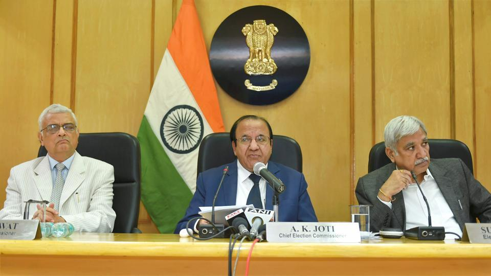 Chief election commissioner AK Joti, flanked by election commissioners Sunil Arora and OP Rawat (left), announces the schedule for the Gujarat assembly elections, at a press conference in New Delhi on Wednesday.