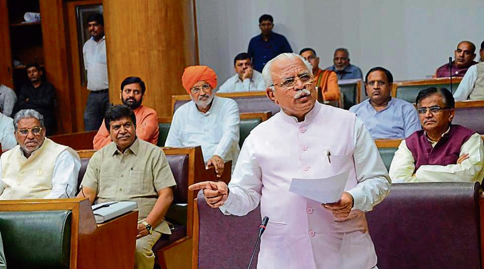 Haryana CM Manohar Lal during the assembly session.