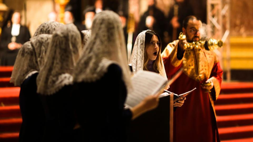 An Armenian Orthodox Choir attends a joint ecumenical service of German and Oriental Orthodoxy churches to pray for christian people in the Mideast at the Berlin Cathedral in Berlin, on October 21, 2017.