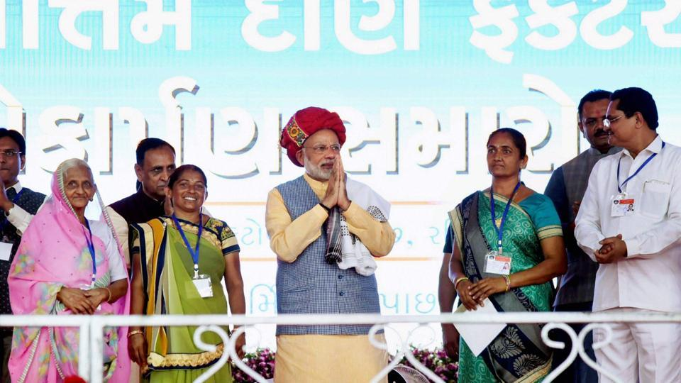 Prime Minister Narendra Modi at a public meeting in Ghogha, Gujarat on October 22.  Gujarat will vote for a new assembly into two phases, on December 9 and 14.