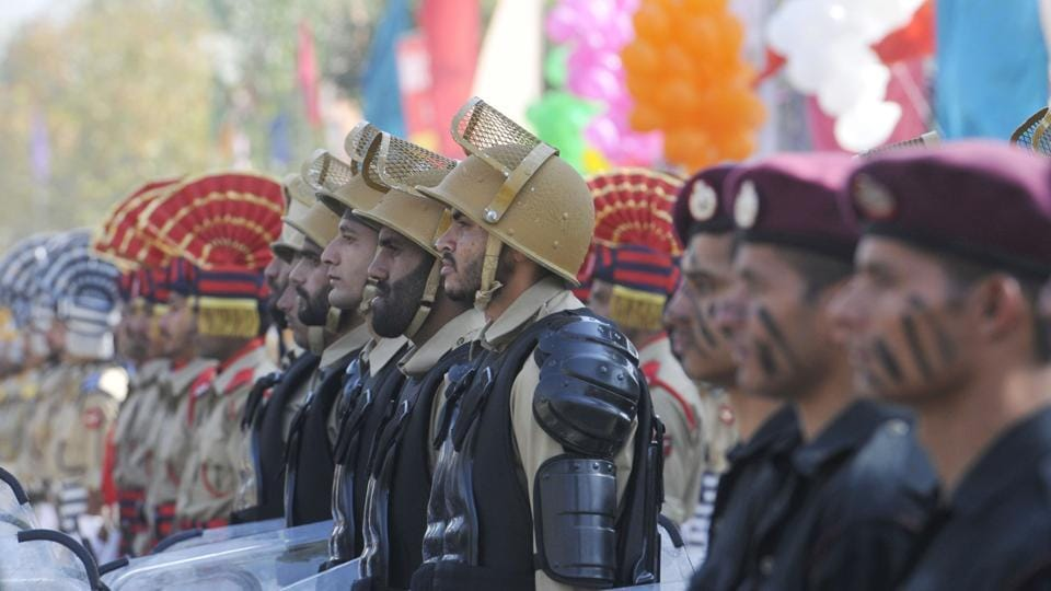 New recruits of Jammu and Kashmir Police during a passing out parade at Manigam on Wednesday in Ganderbal, Jammu and Kashmir.