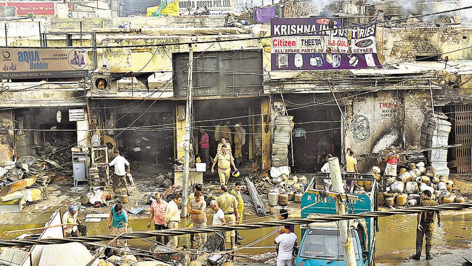 By the time fire tenders doused the flames, property worth several crores of rupees had been reduced into ashes and rubble. Shopkeepers at the market have estimated the damage at over R5 crore.