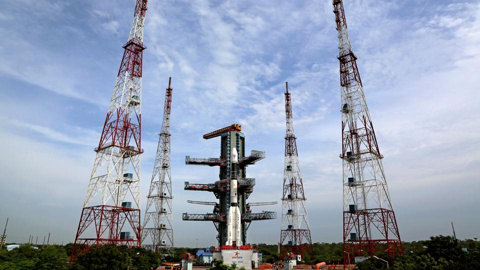 panoramic view of GSLV-D5 at the Second Launch Pad.  Officials said the Chandrayaan-2 launch, on board GSLV-Mk II, is planned for March.