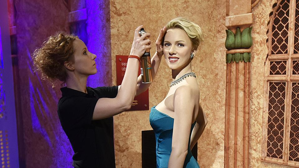 A wax figure of Hollywood actress, Scarlett Johansson is displayed at Madame Tussauds Wax Museum, New Delhi. Located in the heart of the national capital, within the Regal Cinema complex in Connaught Place, this first of its kind museum is set for inauguration on December 01, 2017. (Raj K Raj / HT PHOTO)