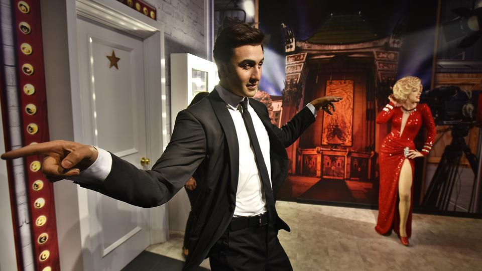 Indian actor Ranbir Kapoor's wax figure is displayed at the Madam Tussaud's museum. This is the 23rd Madame Tussauds Wax Museum worldwide, which will house 50 wax statues of Indian and International icons split into multiple genres --History, Sports, Music, Bollywood and Hollywood. (Raj K Raj / HT PHOTO)