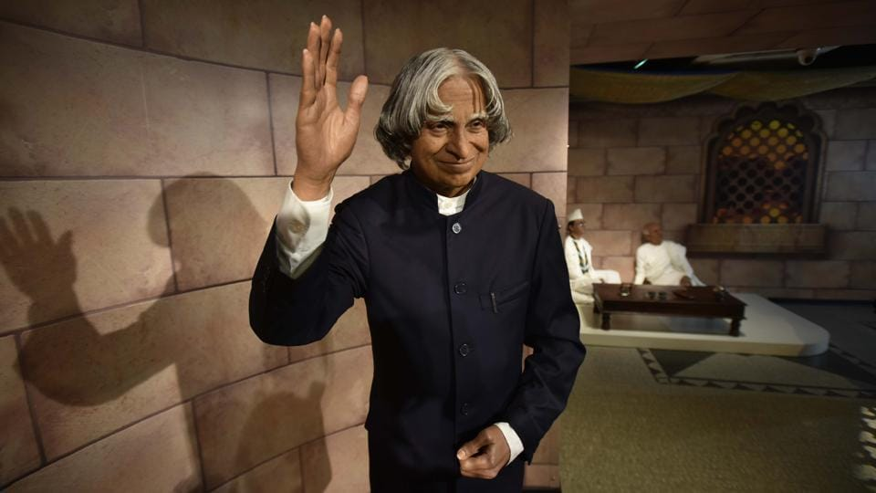 A. P. J. Abdul Kalam former President of India's wax figure is also displayed at 23th Madame Tussaud Wax Museum in New Delhi. (Raj K Raj / HT PHOTO)