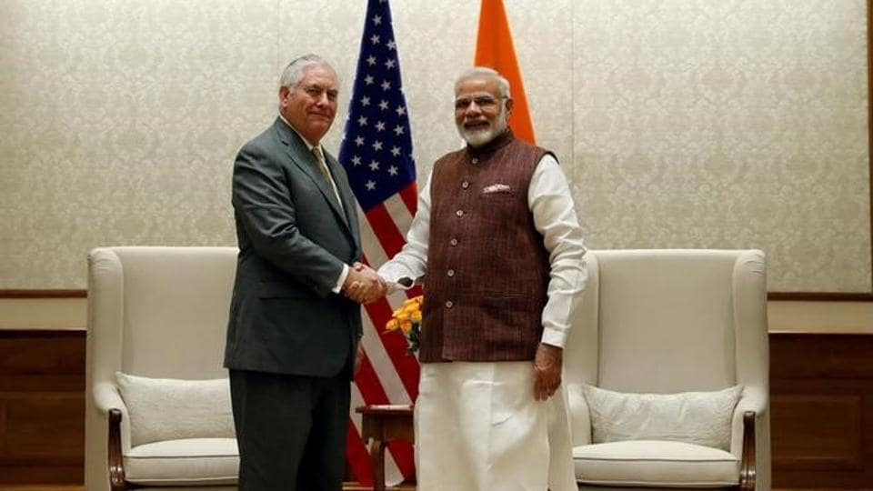 US Secretary of State Rex Tillerson shakes hands with Prime Minister Narendra Modi before their meeting at the Prime Minister's residence in New Delhi.