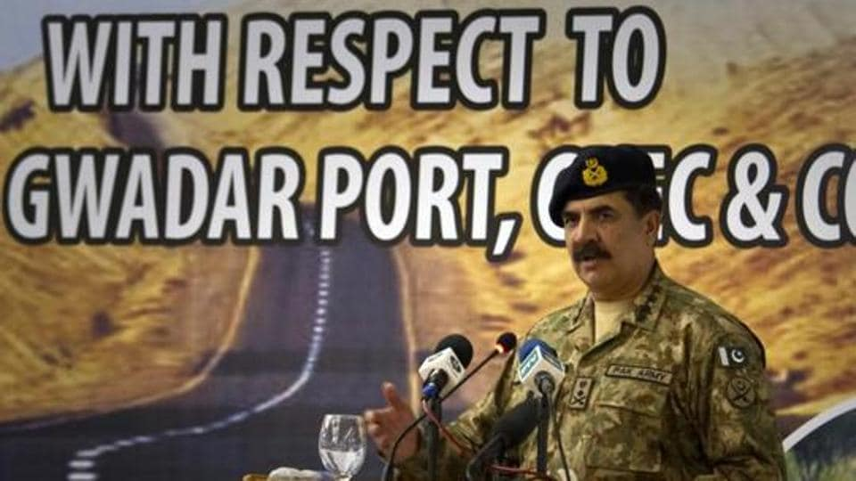 Pakistan's Army Chief General Raheel Sharif addresses a seminar on 'Prospects of Peace And Prosperity In Balochistan' in Gwadar, a remote town about 700 kilometers (435 miles) west of Karachi.