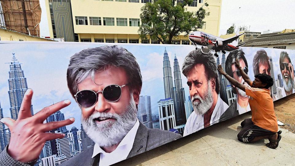A huge banner of Tamil superstar Rajinikanth in Chennai.