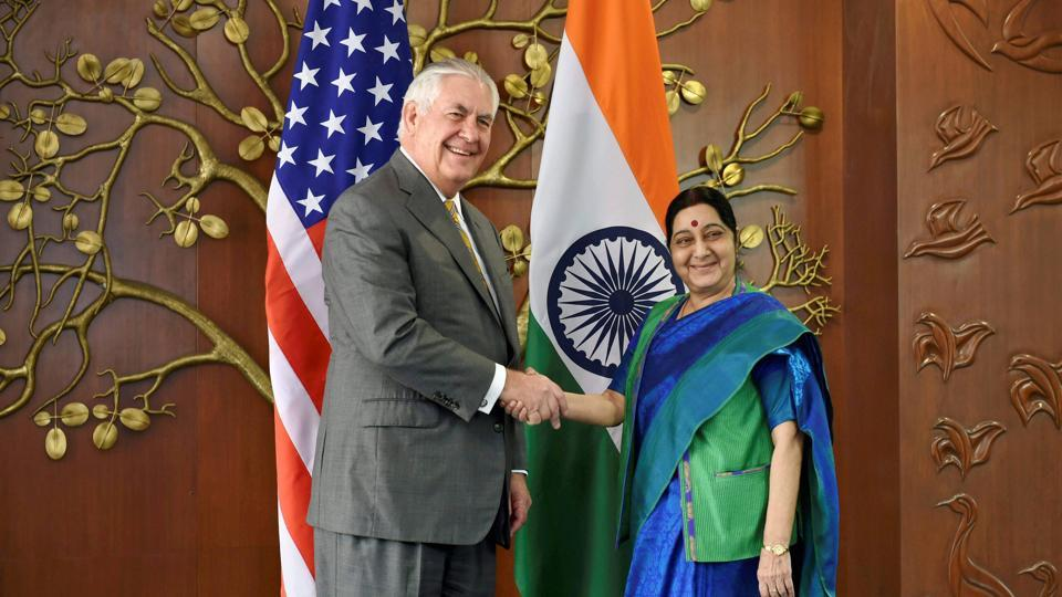 US Secretary of State Rex Tillerson poses with minister for external affairs Sushma Swaraj before a meeting in New Delhi on Wednesday.