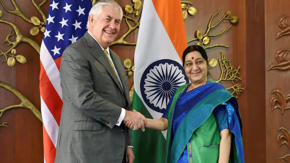 US secretary of state Rex Tillerson with external affairs minister Sushma Swaraj before their meeting in New Delhi on Wednesday.
