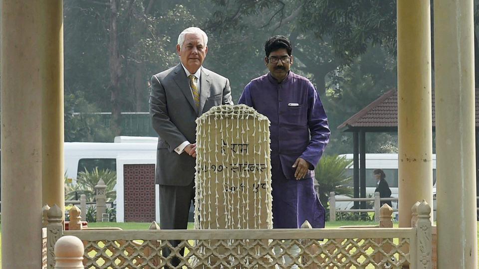 US secretary of state Rex Tillerson at Gandhi Smriti in New Delhi on Wednesday.
