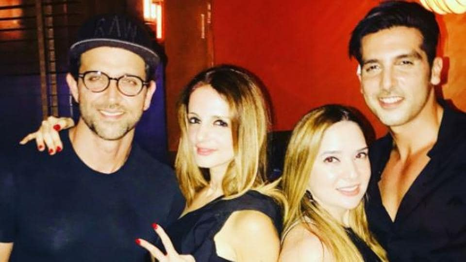 Sussanne Khan with Hrithik Roshan and Zayed Khan.