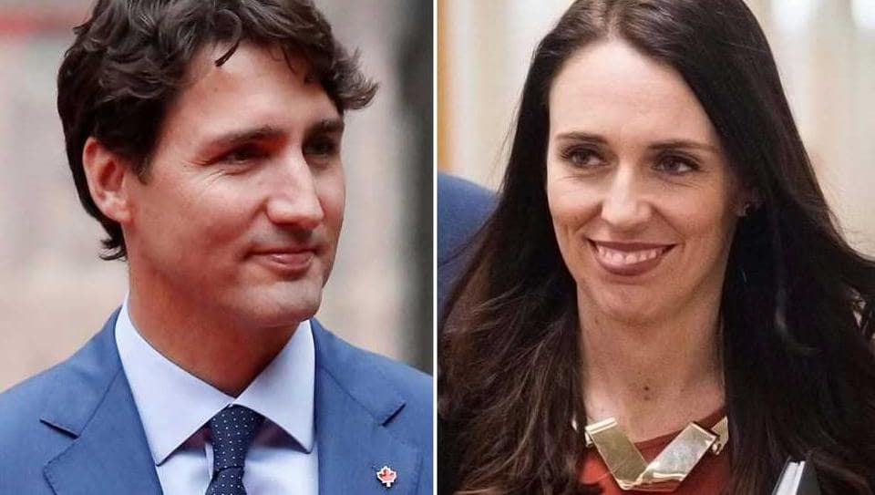 Canadian PM Justin Trudeau and Jacinda Ardern, the new Prime Minister of New Zealand.