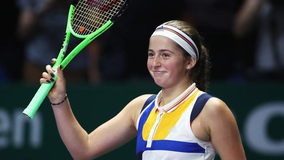 Jelena Ostapenko defeated Karolina Pliskova 6-3, 6-1 to claim her first WTA Finals victory.
