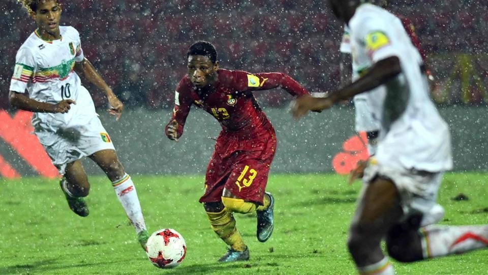 The FIFAU-17 World Cup quarterfinal between Mali and Ghana was played in torrential rain, which led to the pitch at the Indira Gandhi Athletic Stadium in slushy condition. With the rain not relenting, the ground staff could not prepare it in time for the Brazil vs England semifinal and the match was shifted to Kolkata.