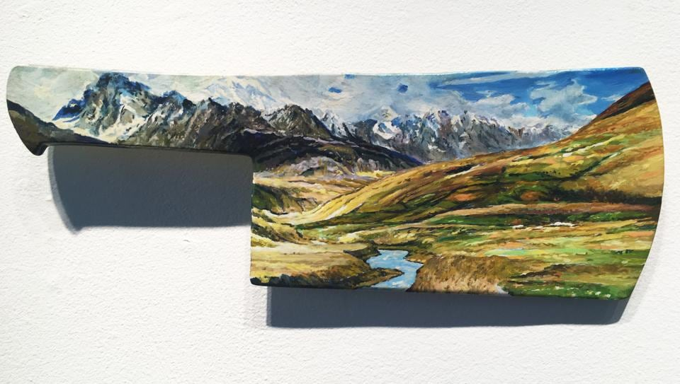 Karachi-based Suleman has painted onto a set of sharpened meat cleavers a series of pristine landscapes representing the natural beauty of northern Pakistan.